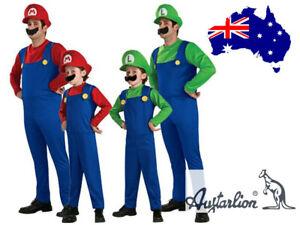 Book Week Super Mario Luigi Bros Jumpsuit Adult Kids Fancy Dress Costume Cosplay