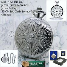 """Silver Pocket Watch Quartz Men Roman Numbers Dial with 14"""" Curb Link Chain P05"""