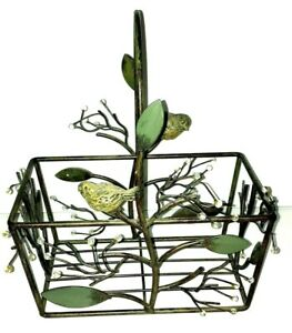 Wrought Iron Basket w/ Birds Sculpture beads branches Large Handle 8.5x4.5 green