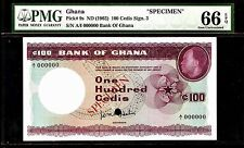Ghana 100 Cedis 1965 SPECIMEN PMG 66EPQ UNC Pick # 9s  S/N A/I 000000