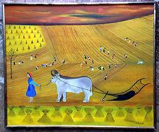 "Concha Barreto ""Siembra en Castilla"" Cuban/Mexican Artist 1971 Oil On Canvas"