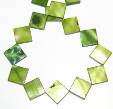MP1774f Green 20x19-20x20mm Flat Square Diamond Mother of Pearl Shell Beads 15""