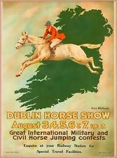 1937 Dublin Horse Show Ireland Airline Vintage Irish Travel Poster Print