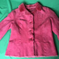Autunno 100% Sheepskin Jacket Size L Pink Warm Winter Button Lined D6