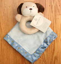 Carter's Security Blanket & Rattle ~ Blue & Brown ~ Dog ~ Puppy ~ Paw Prints ~