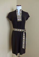 Women's Michael Kors Brown V-neck w/Accent Belted Short Sleeve Dress in sz M