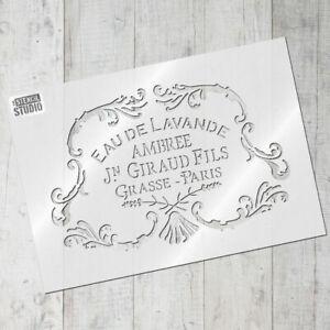 Eau de Lavande Vintage Stencil - Vintage French Lavender Stencil design 10647