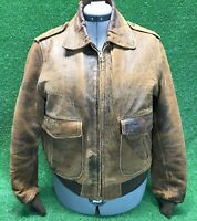 BOMBER Jacket brown lamb's leather quilted lined VINTAGE Distressed Moto Size 40