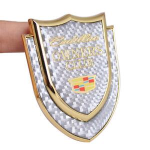 Gold New Cadillac Silver Carbon Fiber Emblem Window Fender Body Rear Trunk Badge