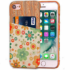 For Apple iPhone 8 Wooden Case Shockproof Flowers Wallet Credit Card Holder