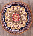 Vintage Floral Rya Sweden Oriental Area Rug Hand-Woven Wool Octagon Carpet 7x7