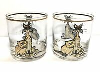 Vtg Mid Century Barware Culver Owl And The Pussycat Lowball Rocks Glass Set Of 2