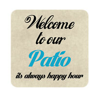 Welcome to Our Patio Sign, Metal Outdoor Garden Decor Beach Pool Party Plaque