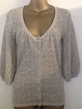 Marks & Spencer Limited Collection Gold Lurex Lacy Knit Crochet Cardigan 8 XS 32