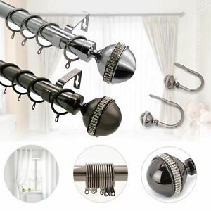 Bling Extendable Metal Curtain Pole Poles 28mm Includes Finals Rings Fittings