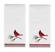 Set/2 Embroidered Snow Cardinals pine branch Bath Hand Towels Jacquard 25x16 Nwt