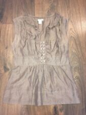 Odille Brown Tank Top With Ruffle Front and Button Details, Size 4