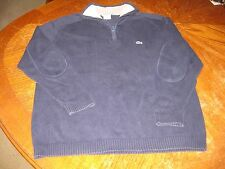 Lacoste Sweater Pullover 1/2 Zip Navy Blue Reinforced Elbows AUTHENTIC Size 6