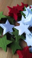 72 x dicke Filz Sterne sortiert Rot grün weiß Filzsterne Streuen Box Dekoration
