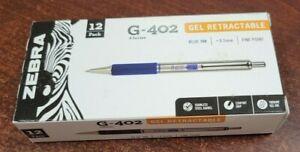 12 Zebra G-402 Stainless Steel Retractable Gel Pen Fine 0.5mm Blue 49920 G402