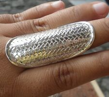 925 Sterling Silver-LH113-Bali Hand Made Ring Woman Xtra Large Plain Size 9