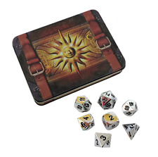 Cleric's Prayer Book Shiny Chrome / Silver Color with Black Numbering Metal Dice