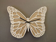 Wooden Butterfly Wall Clock- White/ Girls Bedroom/living