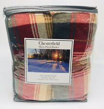 Chesterfield Micro Plush Blanket -Never Pill- Full/Queen -Red Blue Plaid -NOS