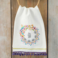 Natural Life Happy Place Linen Hand Towel