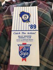 Beloit Brewers 1989 Schedule And Ticket Info Sheet Milwaukee