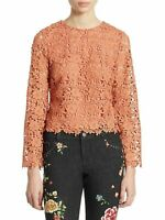 NWT $295.00 ALICE + OLIVIA Salmon BELL SLEEVE Crochet LACE PASHA Top BLOUSE~M