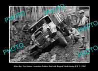 OLD POSTCARD SIZE PHOTO MILNE BAY PNG AUSTRALIAN TROOPS BOGGED IN WWII c1942