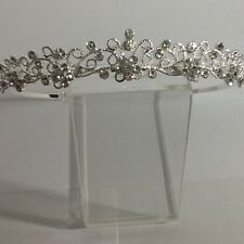 Silver plated diamante flower and filigree dainty tiara 40401