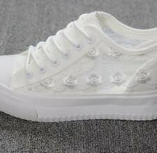 Womens Girls High Tops Wedge Canvas Floral Lace Mesh Plimsolls Sneakers Shoes 75