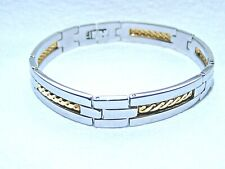 RCI 18k Yellow Gold And Stainless Steel Mens Bar Link Bracelet