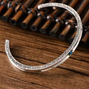 I01 Bracelet Sterling Argent 925 Avec un Petit Turquoise