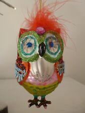 Gisela Graham Funky Multi Coloured Painted Glass Owl Christmas Dec (11cm)