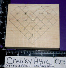 QUILTED HEART LINED RUBBER STAMP STAMPA ROSA RETIRED K 81-7
