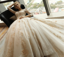 New champagne Wedding dress Bridal Gown custom size 6-8-10-12-14-16 18++++