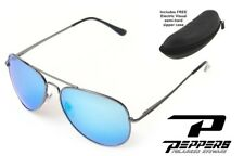 NEW Peppers Freeway Blue Mirror Aviator Polarized Sunglasses + Electric Case