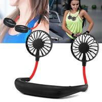 Rechargeable Portable USB Neckband Lazy Neck Hanging Style Dual Cooling Fans Fan