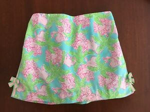 Lilly Pulitzer Cotton Blue Pink Green Lazy Lions Skooter Skirt Skort Girls 14