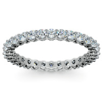 1.10Ct Round Moissanite Eternity Wedding Anniversary Bands Ring 14k White Gold