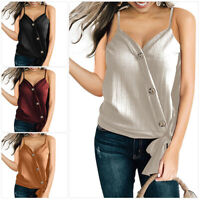 Women Camisole Casual V Neck Button Strappy Tank Top Vest Summer Blouse T Shirt
