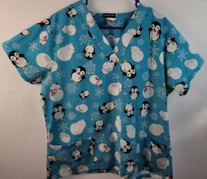 Scrub Studio Snowman Penguin Scrub Top, Size 1X, V-neck, 2 Pockets