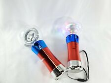 2 Light-Up Spinning 4th Of July, LED Rave Toy Stick Flashing Wizard Ball New 2Pa