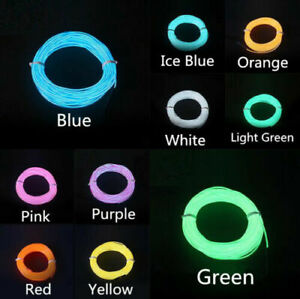 EL Wire Neon Light LED Lamp Flexible Rope Tube Strip Party Car Decor + Cigarette