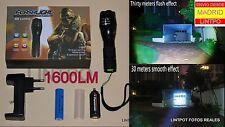 LINTERNA LED XM-L T6 CON ZOOM 1600 LUMENES (similar ultrafire trustfire) NO DISP