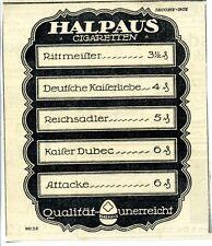 Halpaus--Rittmeister-Halpaus Cigaretten--Werbung von 1917