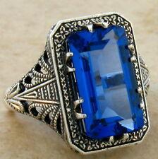 6 Ct London Blue Sim Topaz Antique Design 925 Sterling Silver Ring Size 5, #376